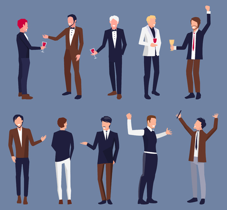 Icons of men dressed officially with glass of wine or champagne at party. Vector illustration of shapes of man isolated on dark violet