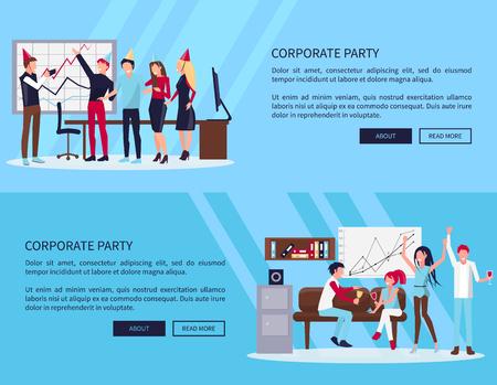BedrijfspartijWeb-pagina met tekststeekproef en twee knopen, mensen in bureau het vieren succes van bedrijf samen vectorillustratie