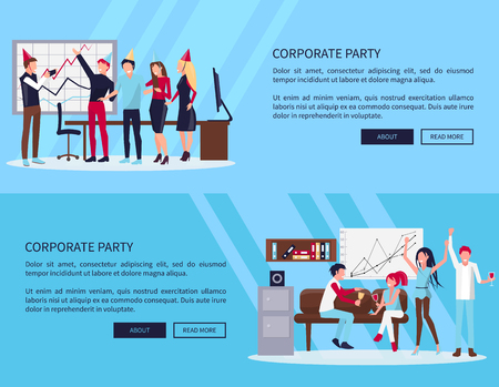 Corporate party web page with text sample and two buttons, people in office celebrating success of company together vector illustration