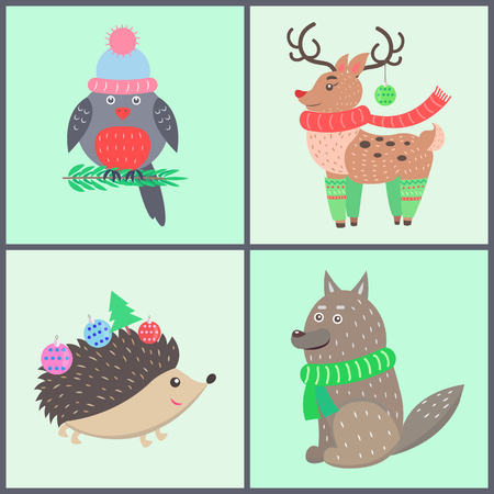 Animal icons, collection of posters with bullfinch wearing hat, reindeer with scarf, images of hedgehog and wolf vector illustration isolated on green