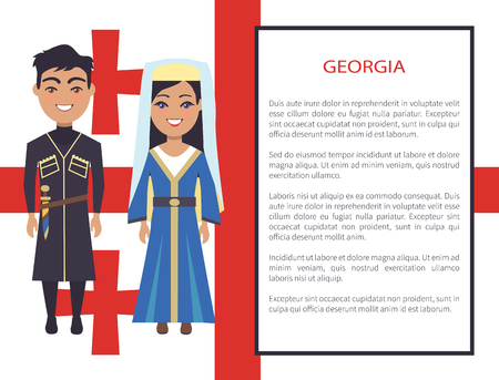 Georgia man and woman dressed in traditional costumes, smiling couple, vector international day poster ethnic people, text in frame, native georgians Illustration
