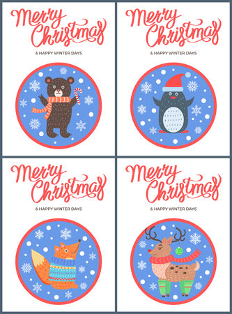 Merry Christmas 60s style congratulation postcard with happy animals in round frames. Vector illustration with beasts in warm clothes