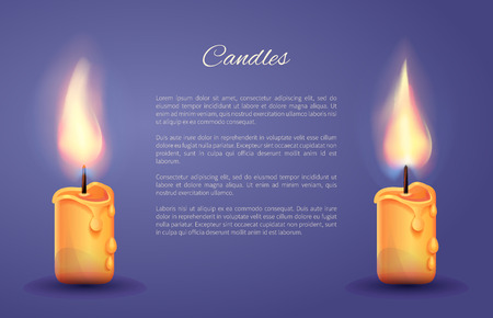 Candles decoration bright poster with two burning candles and room for text content. Vector illustration illuminated by wax on blue background Ilustração