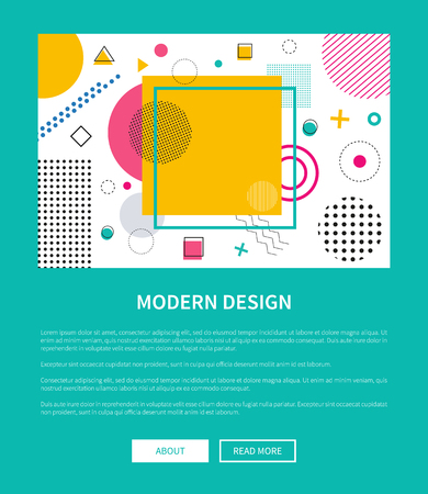 Modern design of landing page with geometric figures of different shapes, random dots formed in squares and circles vector web poster with buttons