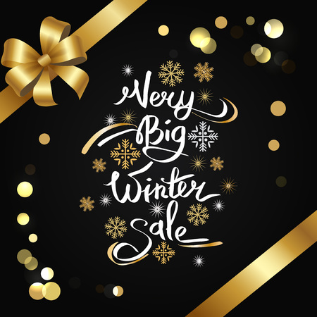 Very big winter sale inscription on snowflakes vector on black, glittering elements, bow and ribbons. Stylish advertising poster with calligraphic text