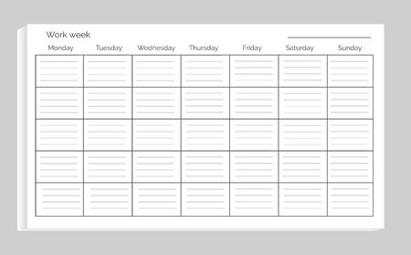 Work week with empty space for filling your own plans, item that helps to organize time efficiently on vector illustration isolated on white Illustration