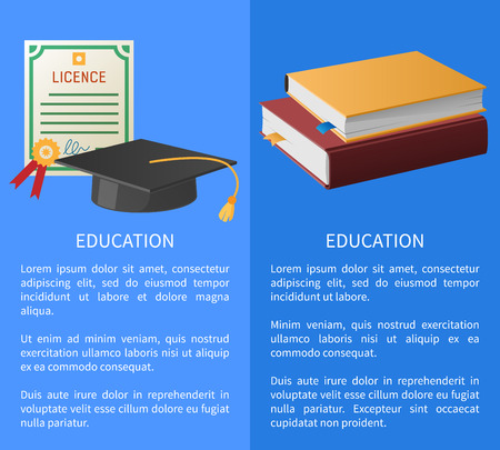 Education banners set with licence with golden stamp, pile of books on law and square academic hat with tassel isolated vector illustrations with text