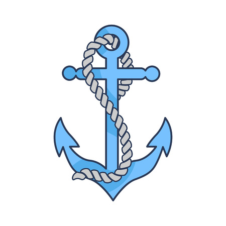 Blue heavy anchor with strong rope isolated cartoon vector illustration on white background. Construction designed to hold vessel in one place.