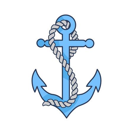 L'ancora pesante blu con forte corda ha isolato l'illustrazione di vettore del fumetto su fondo bianco. Costruzione progettata per contenere la nave in un unico posto. Archivio Fotografico - 91706379