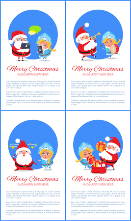 Merry Christmas and Happy New Year posters with Santa and Snow Maiden chatting on tablets, playing musical instruments, put presents in bag vector set