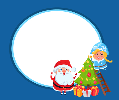 Happy Santa Claus with granddaughter decorating Christmas tree with toys and big yellow star on top, vector illustration isolated on blue background Illustration