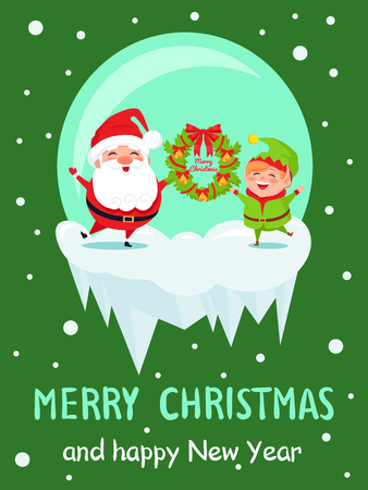 Merry Christmas and happy New Year poster with Elf and Santa in crystal ball greeting everyone with wreath vector cartoon characters on green  イラスト・ベクター素材