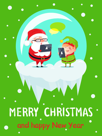 Merry Christmas and Happy New Year postcard Santa and Elf sending greetings via tablet and smartphone, chatting in Internet and reading wishes vector Illustration