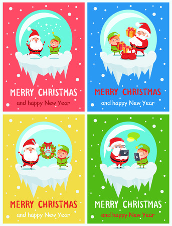 Happy New Year Merry Christmas posters Santa and Elf merrily jump, put presents into red sack, hold winter decor wreath, chatting on smartphones vector