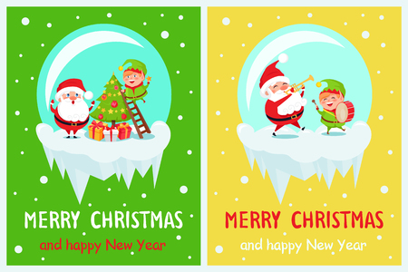 Merry Christmas and happy New Year, elf standing on ladder with star ready to decorate tree, Santa Claus worrying about him vector illustration