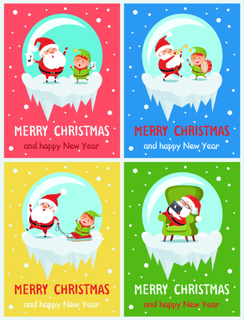 Merry Christmas and happy New Year, placards set with singing winter characters, sleeping Santa and elf playing drums, isolated on vector illustration Illustration