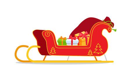 Weihnachtspferdeschlitten mit Geschenken vector die Illustration, die auf Weiß lokalisiert wird. Roter Sankt Schlitten mit der Baumverzierung des neuen Jahres, voll von der Geschenkboxkarikaturart Standard-Bild - 91707001