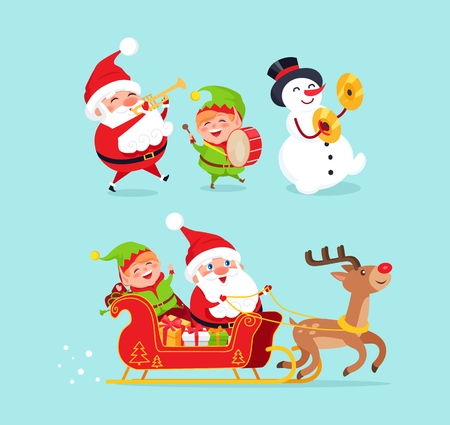 Santa Claus wearing traditional costume and snowman with black hat, elf with drum, sled and reindeer with presents, characters vector illustration