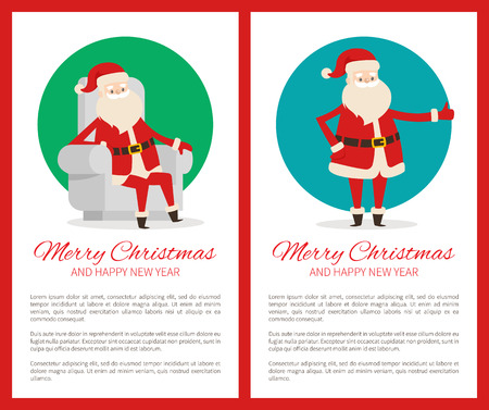 Merry Christmas happy New Year cute Santa Claus on two light posters on white in red frames. Vector illustration with funny Santa in traditional costume
