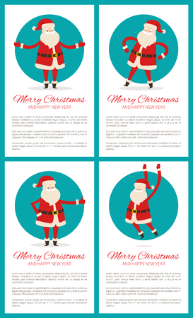 Merry Christmas and happy New Year, text sample and letterings, Santa Claus with stretched hands in circle, promo posters vector illustration Ilustração