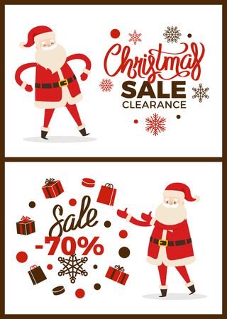Christmas sale clearance, poster with headlines and icons of snowflake and presents, Santa Claus with good mood, collection vector illustration