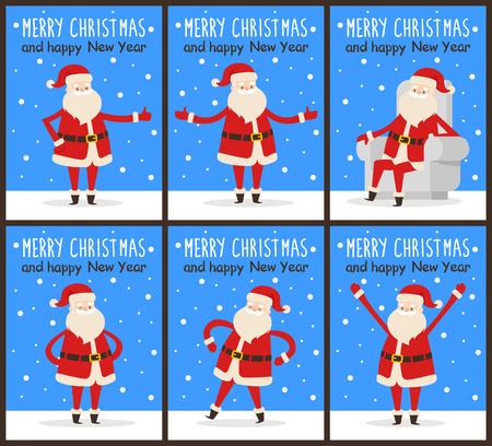 Merry Christmas and happy New Year Santa congrats on set of six snowy posters. Vector illustration with happy smiling xmas symbol in different poses 向量圖像