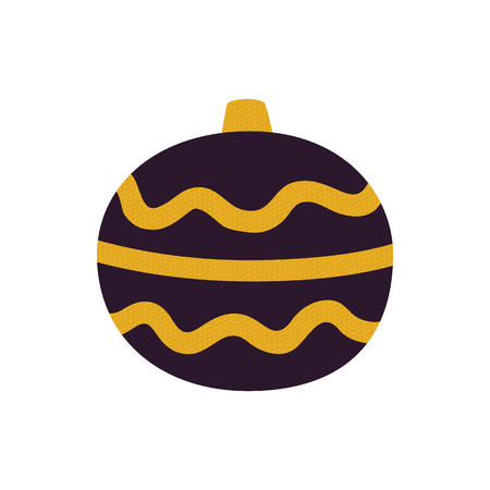 Dark Christmas tree decoration isolated on white background. Vector illustration with black glass ball decorated with yellow curve patterned lines