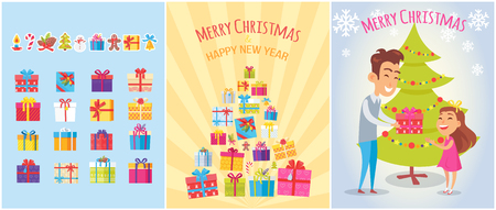 Merry Christmas postcards set with piles of gift boxes, New year symbols, wrapped gifts, icons of candy stick, spruce cones, father and daughter vector