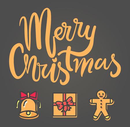 グレーの背景にお祝いのアイコンとメリークリスマス明るいポスター。赤い弓とかわいい笑顔クッキーの人とベルを鳴らすベクトルイラスト 写真素材 - 91706964