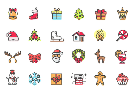 Christmas icons collection, bell and sock, present and tree, mistletoe and candies, snowflake and snowman, cookie and cake vector illustration
