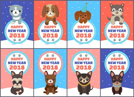 Happy New Year 2018 congrats set of colorful posters on snowy background. Vector illustration with congratulations from happy smiling dogs in collars Illustration