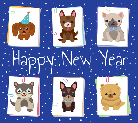 Happy New Year pets poster with cute smiling dogs on dark blue background with snowfall. Vector illustration with happy animals on white square cards