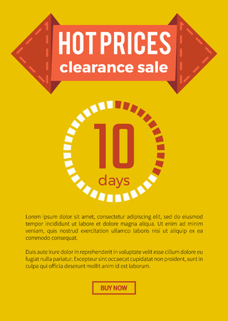 Hot prices clearance sale, website sample that consists of ribbon and title, informational text, button that says buy now on vector illustration