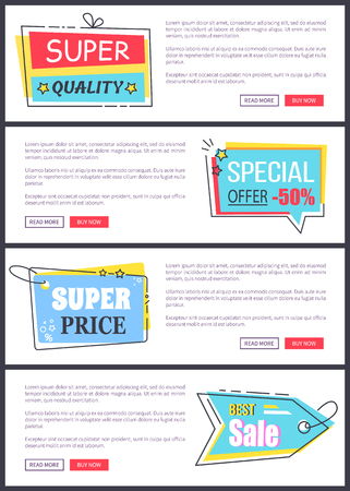 Super price and best sale, internet pages with stickers, text and buttons, that allow people to buy products online, isolated on vector illustration