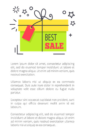 Best sale promo poster with gift box, tied with thin thread with bow, small stars around and big sample text cartoon flat vector illustration.