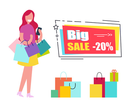 Big sale voucher with woman who carries colorful paper shopping bags and small present box with ribbon and bow isolated vector illustration.