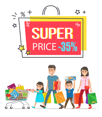 Super price sale with 35 off promotional poster with family that got lot of goods and carries them in paper bags and big boxes vector illustration. Illustration