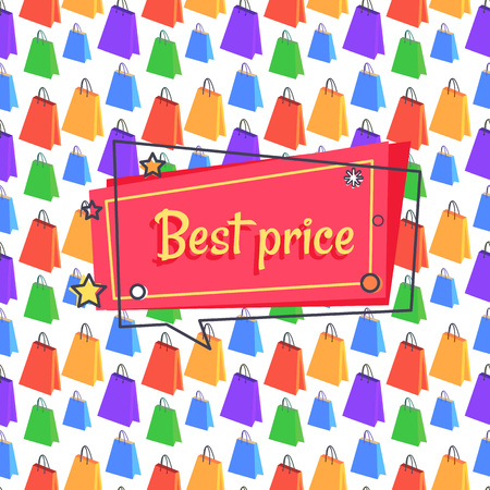 Best price proposition banner in square speech bubble with stars and snowball, vector seamless pattern with shopping color bags, sale wrapping paper