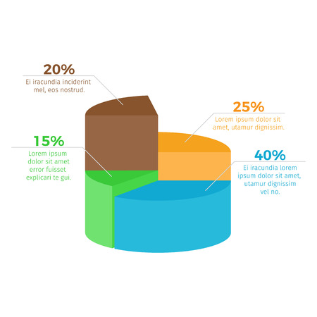 Infographic with percentage and additional information placed by each sector, visual means of presenting info on vector illustration