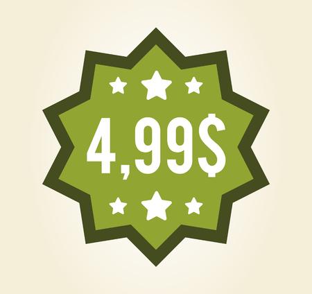 Closeup Green Polygon Sticker Vector Illustration