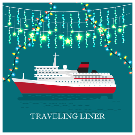 Traveling Liner Festival on Cruise Ship Vector Illustration