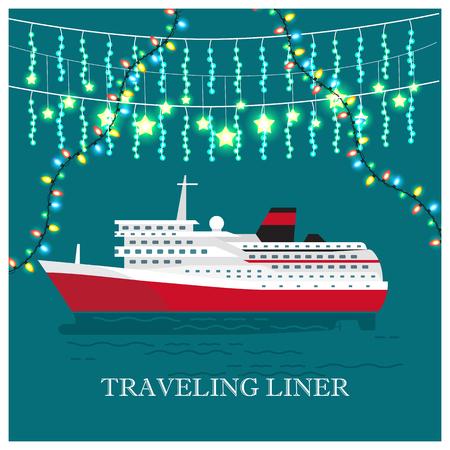 Traveling Liner Festival on Cruise Ship Vector Çizim