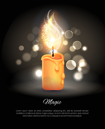 Burning Candle in Realistic Design Vector Icon