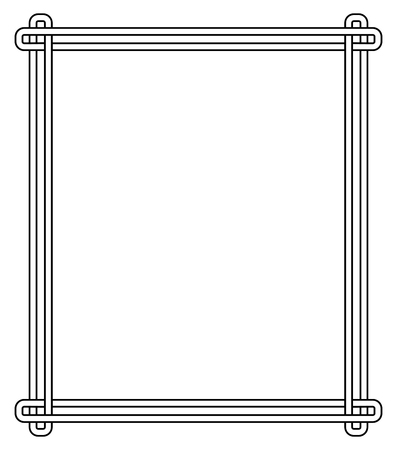 Minimalist geometric frame made of three stripes connected with each other at end of each corner vector illustration isolated on white