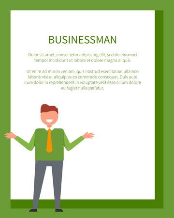 Il manifesto dell'uomo d'affari con l'uomo in maglione verde con le mani allungate ai lati vector l'illustrazione con il posto per testo nel telaio Archivio Fotografico - 91708627
