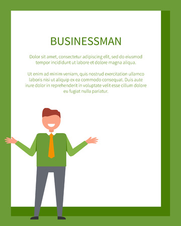Businessman poster with man in green sweater with hands stretched to sides vector illustration with place for text in frame Illustration