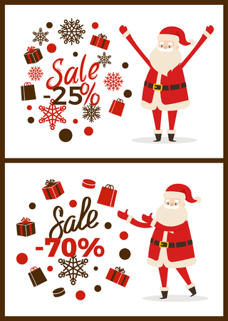 Christmas sale advertisement on two light posters on white background. Vector illustration with discount promotion from cute smiling Santa Claus 일러스트