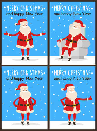 Merry Christmas and happy New Year Santa congrats on set of snowy posters. Vector illustration with happy smiling xmas symbol in different poses 向量圖像