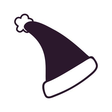 白い背景に隔離された黒サンタクロース帽子のアイコン。ふわふわのブボとカフスが付いている美しい黒と白の帽子が付いているベクトルのイラス
