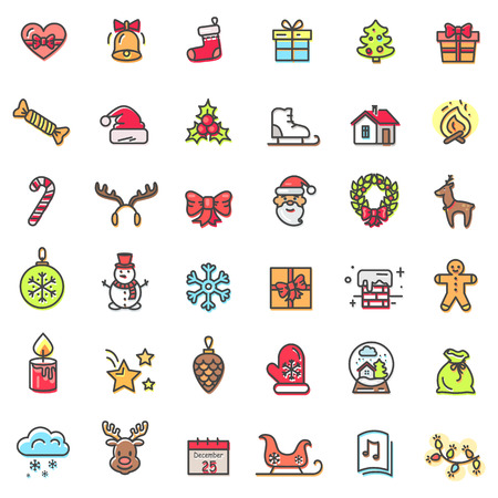 Christmas theme colorful icons isolated on white background. Vector illustration with cute smiling Santa Claus, shiny golden bell and glowing candle Illustration